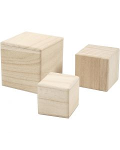 Wood cubes, size 5+6+8 cm, 3 pc/ 1 pack