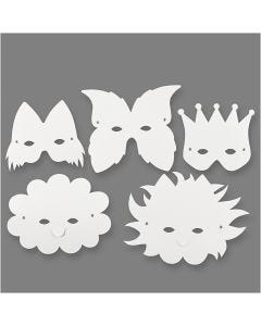 Masks, H: 15-20 cm, 230 g, white, 5 pc/ 1 pack