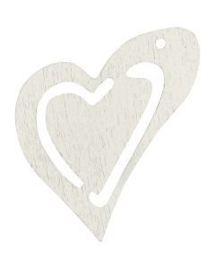 Heart, size 25x22 mm, white, 20 pc/ 1 pack