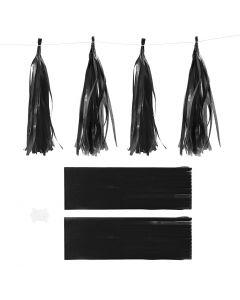Paper Tassel, size 12x35 cm, 14 g, black, 12 pc/ 1 pack