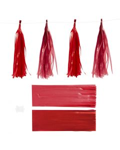 Paper Tassel, size 12x35 cm, 14 g, claret/red, 12 pc/ 1 pack