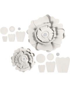 Paper Flowers, D: 15+25 cm, 230 g, white, 2 pc/ 1 pack