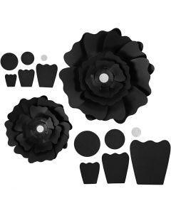 Paper Flowers, D: 15+25 cm, 230 g, black, 2 pc/ 1 pack