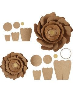 Paper Flowers, D: 15+25 cm, natural, 2 pc/ 1 pack