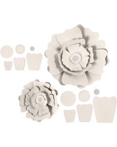 Paper Flowers, D: 15+25 cm, 230 g, off-white, 2 pc/ 1 pack