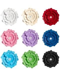 Paper Flowers, assorted colours, 9x10 pack/ 1 pack
