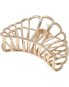 Hair claws, L: 80 mm, W: 52 mm, gold-plated, 1 pc/ 1 pack