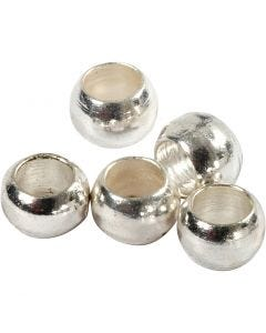 Crimp Beads, D: 2 mm, silver-plated, 100 pc/ 1 pack