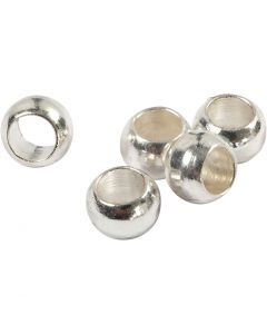 Crimp Beads, D: 2,5 mm, silver-plated, 100 pc/ 1 pack