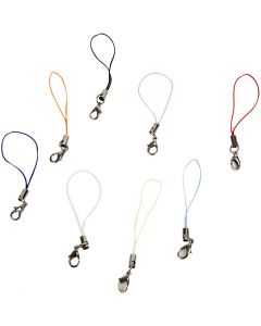 Mobile Phone Strap, L: 7 cm, assorted colours, 100 pc/ 1 pack