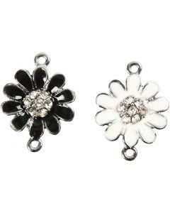 Charms with loop, D: 18 mm, hole size 1,7 mm, silver-plated, 4 asstd./ 1 bag