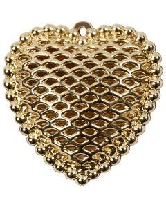 Heart, size 28x29 mm, hole size 1 mm, gold-plated, 1 pc