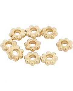 Spacer Bead, D: 6 mm, hole size 2 mm, gold-plated, 100 pc/ 1 pack