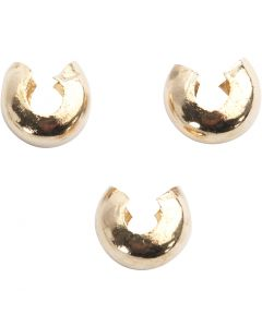 Crimp Bead Cover, D: 5 mm, gold-plated, 50 pc/ 1 pack