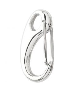 Lobster Claw Clasps, L: 30 mm, W: 15 mm, silver-plated, 2 pc/ 1 pack