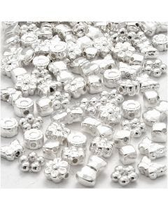 Novelty Shape Beads, size 4-10 mm, hole size 1-1,5 mm, silver-plated, 200 pc/ 1 pack