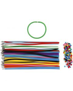 Bracelet, L: 20 cm, thickness 4 mm, assorted colours, 48 set/ 1 pack