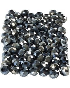 Faceted Beads, size 5x6 mm, hole size 1 mm, metallic black, 100 pc/ 1 pack