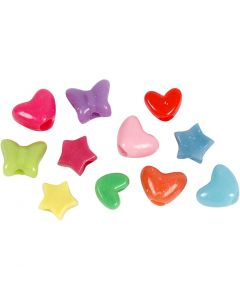 Novelty Shape Beads, D: 10 mm, hole size 3,5 mm, 125 ml/ 1 pack, 65 g