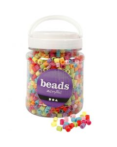 Barrel Bead Mix, D: 7 mm, hole size 3,5 mm, assorted colours, 700 ml/ 1 tub