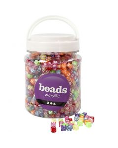 Letter Beads, size 7x7x7 mm, hole size 3 mm, assorted colours, 700 ml/ 1 tub