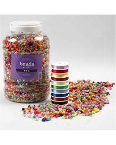 Plastic Beads and Elastic Beading Cord, size 6-20 mm, hole size 1,5-6 mm, 1 pack