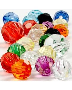Faceted Bead Mix, size 10-12-16 mm, hole size 1-2,5 mm, 125 ml/ 1 pack
