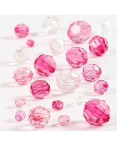 Faceted Bead Mix, size 4-12 mm, hole size 1-2,5 mm, pink (081), 45 g/ 1 pack