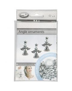 Angel Ornament, H: 5,5 cm, antique silver, 4 pc/ 1 pack