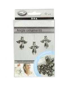 Angel Ornament, H: 5,5 cm, W: 4,5 cm, silver, 4 pc/ 1 pack