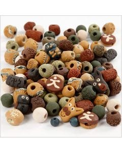 Ceramic Beads, size 7-18 mm, hole size 2-4 mm, assorted colours, 300 g/ 1 pack