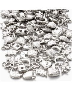 Silver Charms, size 15-20 mm, hole size 3 mm, 80 g/ 1 pack