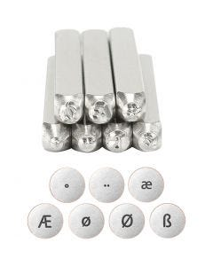 Embossing Stamps, European alphabets, L: 65 mm, size 3 mm, 7 pc/ 1 set