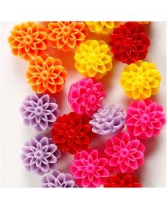 Flower Beads, size 15x8 mm, hole size 1,5 mm, assorted colours, 5x4 pc/ 1 pack