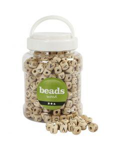Wood Beads, size 9x9x9 mm, hole size 3 mm, 400 ml/ 1 bucket, 185 g