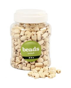 Wooden Beads, size 5-28 mm, hole size 2,5-3 mm, 400 ml/ 1 bucket, 175 g