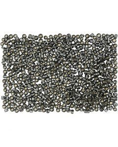 Rocaille Seed Beads, D: 1,7 mm, size 15/0 , hole size 0,5-0,8 mm, grey green, 500 g/ 1 bag