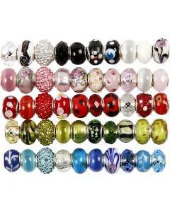 Glass Charm Beads, 50 asstd./ 1 pack