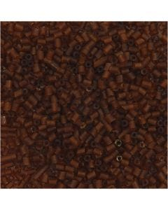 2-cut, D: 1,7 mm, size 15/0 , hole size 0,5 mm, brown, 25 g/ 1 pack