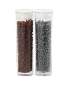 2-cut, D: 1,7 mm, size 15/0 , hole size 0,5 mm, brown, transparent grey, 2x7 g/ 1 pack