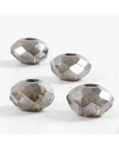 Glass Charm Beads, size 9x14 mm, hole size 4 mm, dark grey, 4 pc/ 1 pack