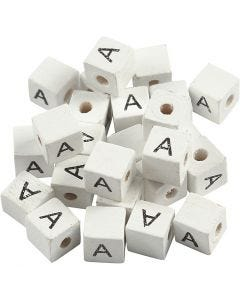 Letter Bead, A, size 8x8 mm, hole size 3 mm, white, 25 pc/ 1 pack