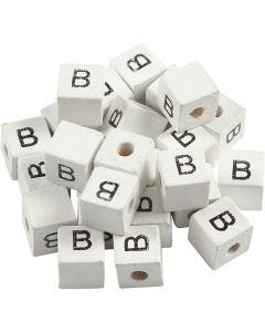 Letter Bead, B, size 8x8 mm, hole size 3 mm, white, 25 pc/ 1 pack