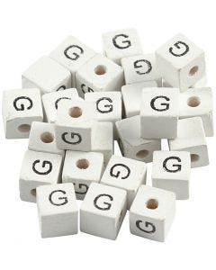 Letter Bead, G, size 8x8 mm, hole size 3 mm, white, 25 pc/ 1 pack