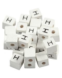 Letter Bead, H, size 8x8 mm, hole size 3 mm, white, 25 pc/ 1 pack