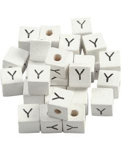 Letter Bead, Y, size 8x8 mm, hole size 3 mm, white, 25 pc/ 1 pack