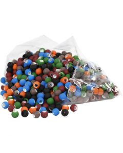 Link Beads, size 8x10 mm, hole size 5 mm, assorted colours, 300 g/ 1 pack