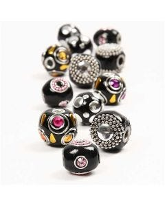 Kashmiri beads, D: 20-17 mm, hole size 4,5 mm, black, 12 asstd./ 1 pack