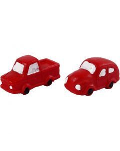 Miniature figurines, H: 20 mm, L: 40 mm, red, 2 pc/ 1 pack