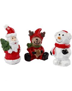 Miniature figurines, Santa, reindeer and snowman, H: 35 mm, L: 10 mm, 3 pc/ 1 pack